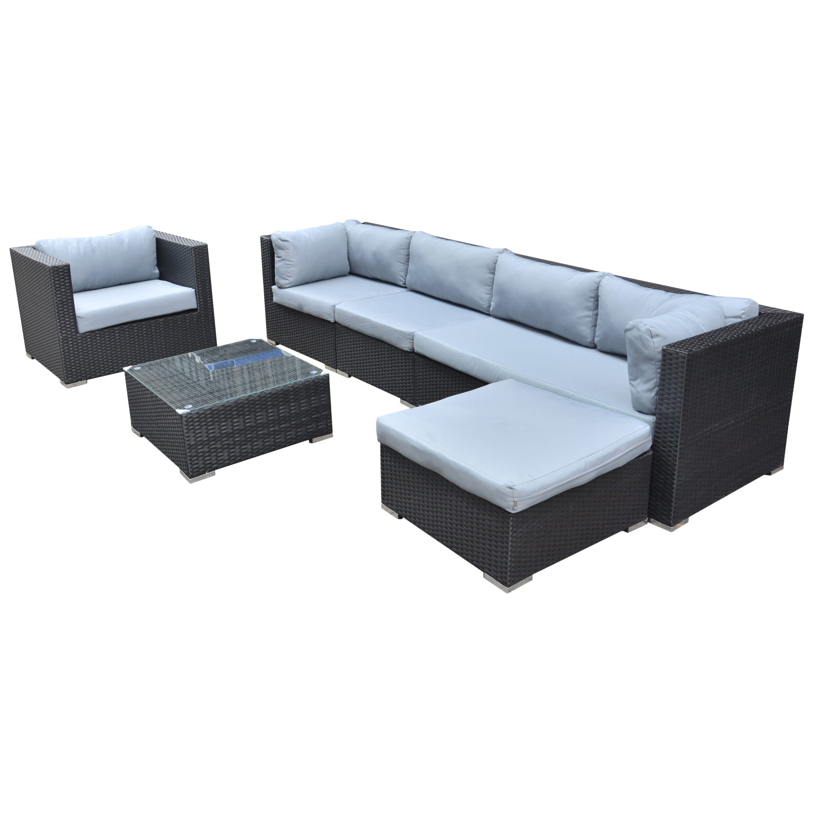 gartenm bel polyrattan rattan lounge sitzgruppe garnitur 5 sitze hocker tisch ebay. Black Bedroom Furniture Sets. Home Design Ideas